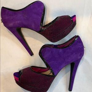 Jessica Simpson Suede Purple Pink Black Stiletto